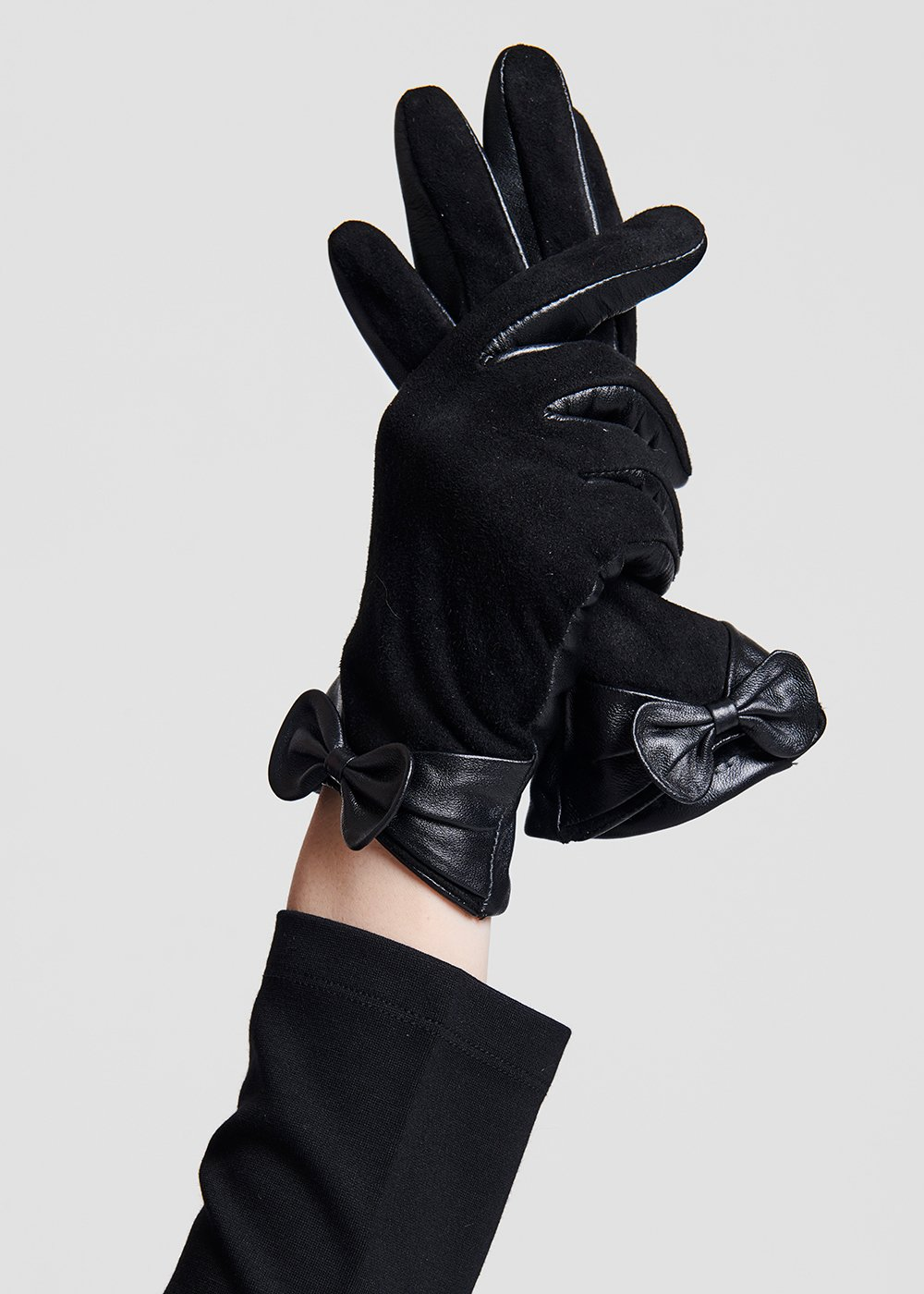 Suede and leather gloves with bow - Black - Woman