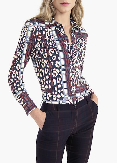Alessia blouse with spotted print and rectangles