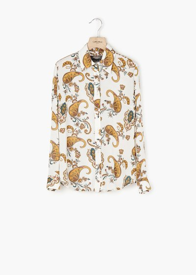 Alessia cashmere print shirt with long sleeves