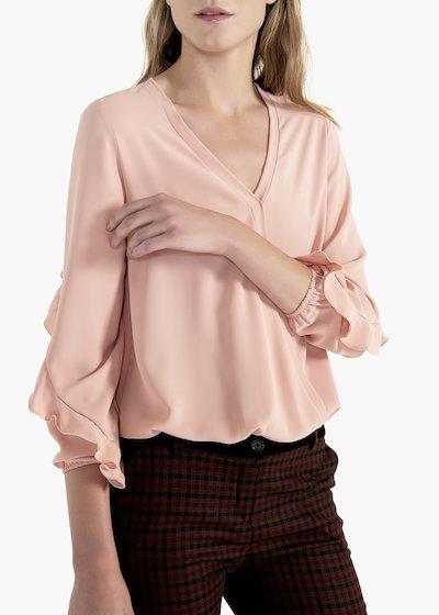 Camicia Elena in crêpe con rouche alle maniche