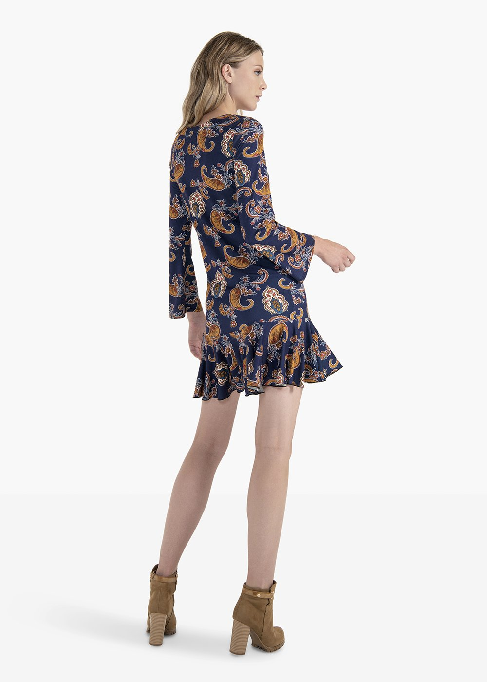 Andrew long-sleeved dress with boat neckline - Blue / Mostarda Fantasia - Woman