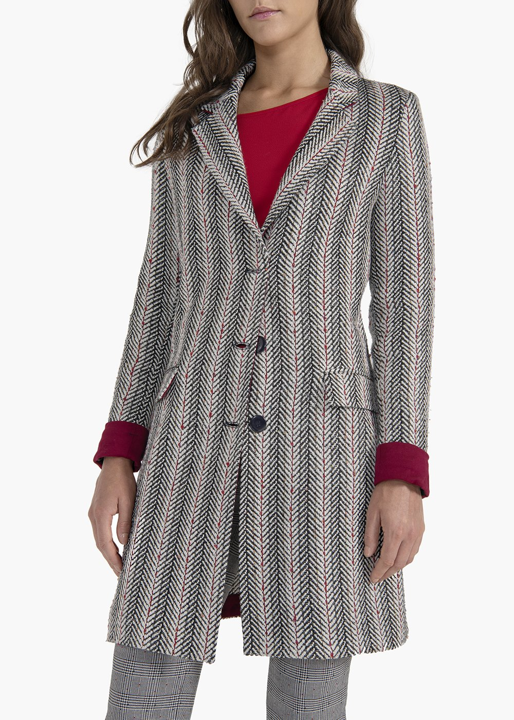 Cristofer single-breasted coat with flap pockets