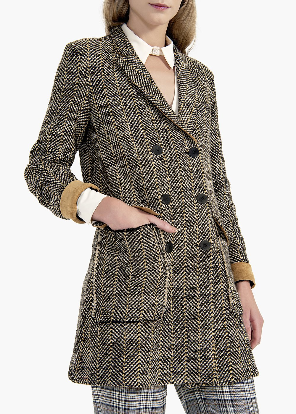 Conny double-breasted coat in herringbone fabric - Mostarda / Black Fantasia - Woman