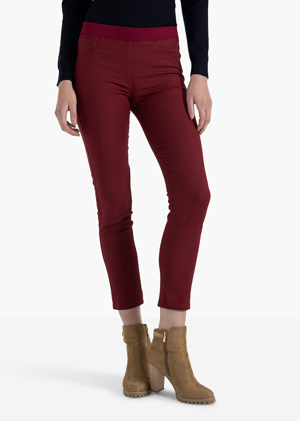 Trousers Kate in cherry-colored elastic cotton - Black cherry - Woman