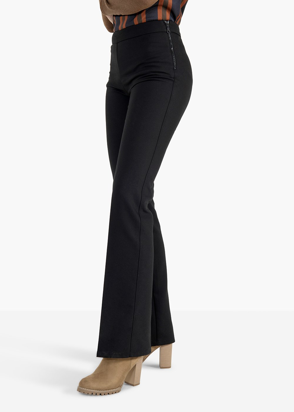 Trousers Victoria in technical flared fabric - Black - Woman