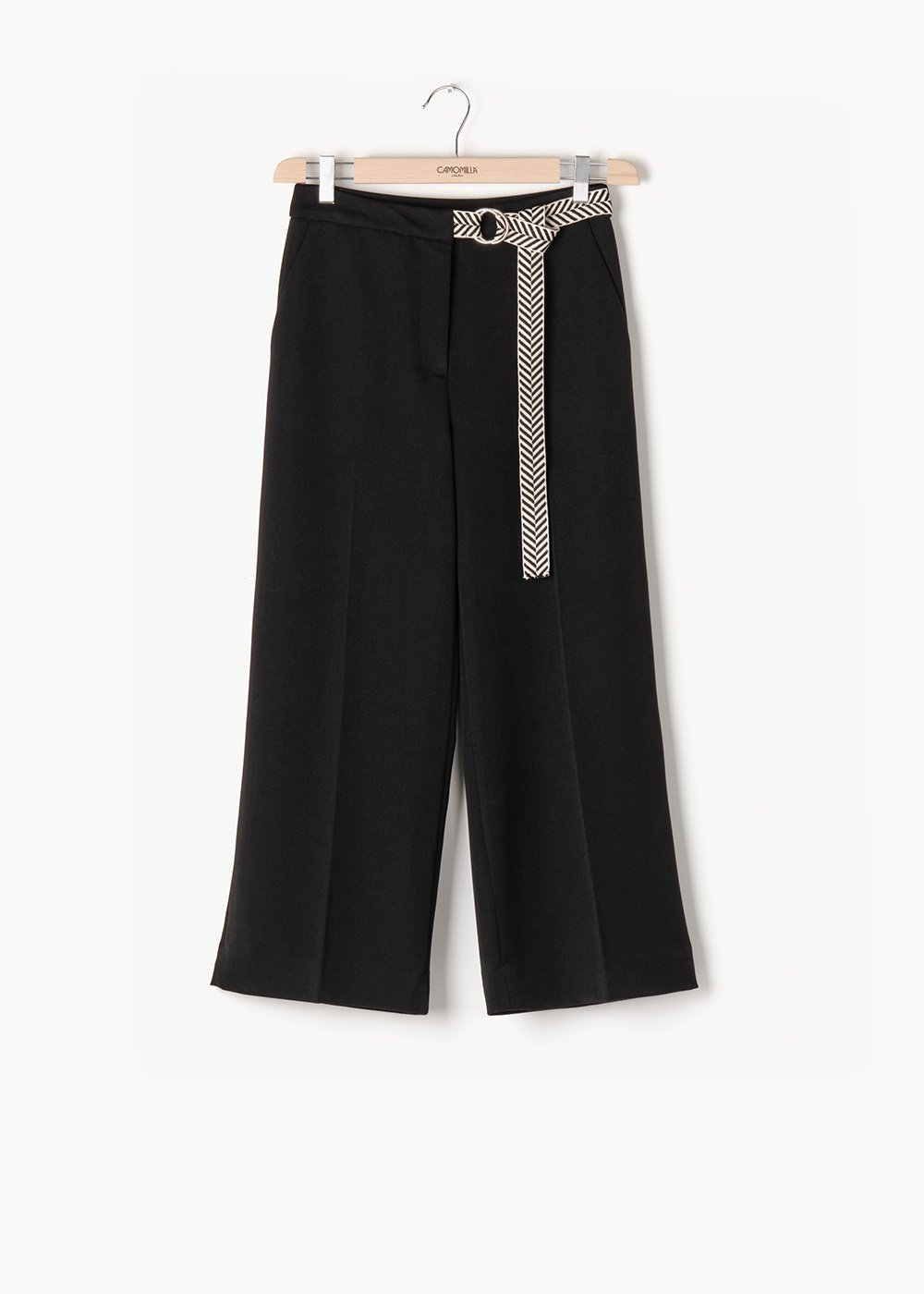 Sara polyiviscose trousers with two-tone belt - Black - Woman