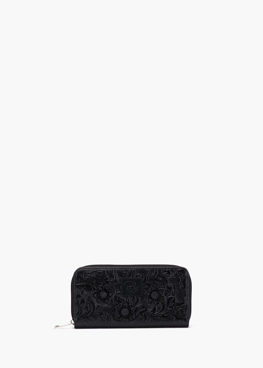 Wallet Phyl in faux leather flower embossed - Black - Woman