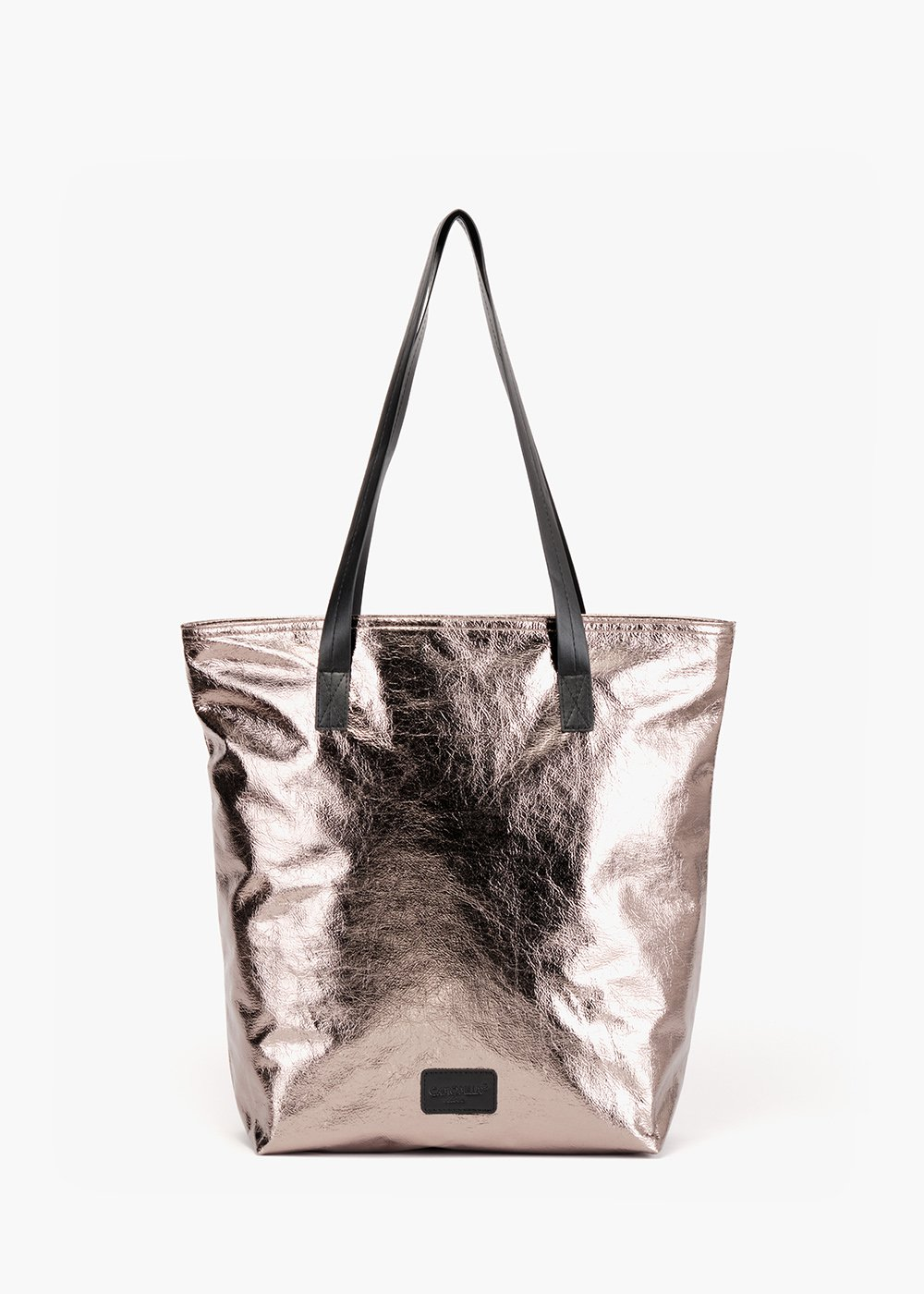 Shopping Borneys effetto used metallico con manici - Silver - Donna