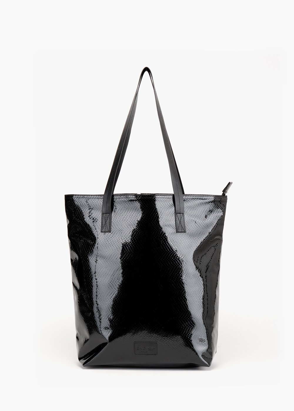 Shopping bag Bloques in glossy python-effect faux leather - Black - Woman