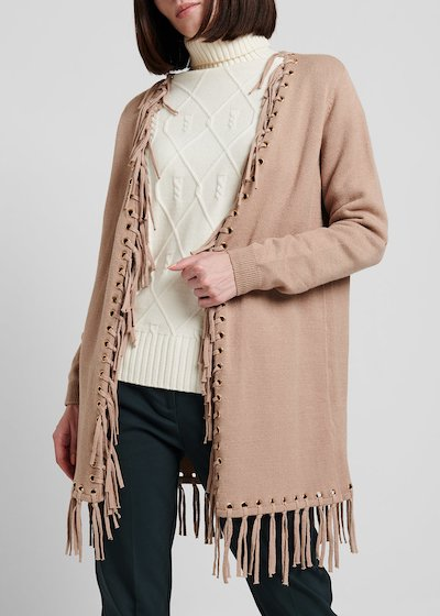 Cardigan in  viscosa con frange