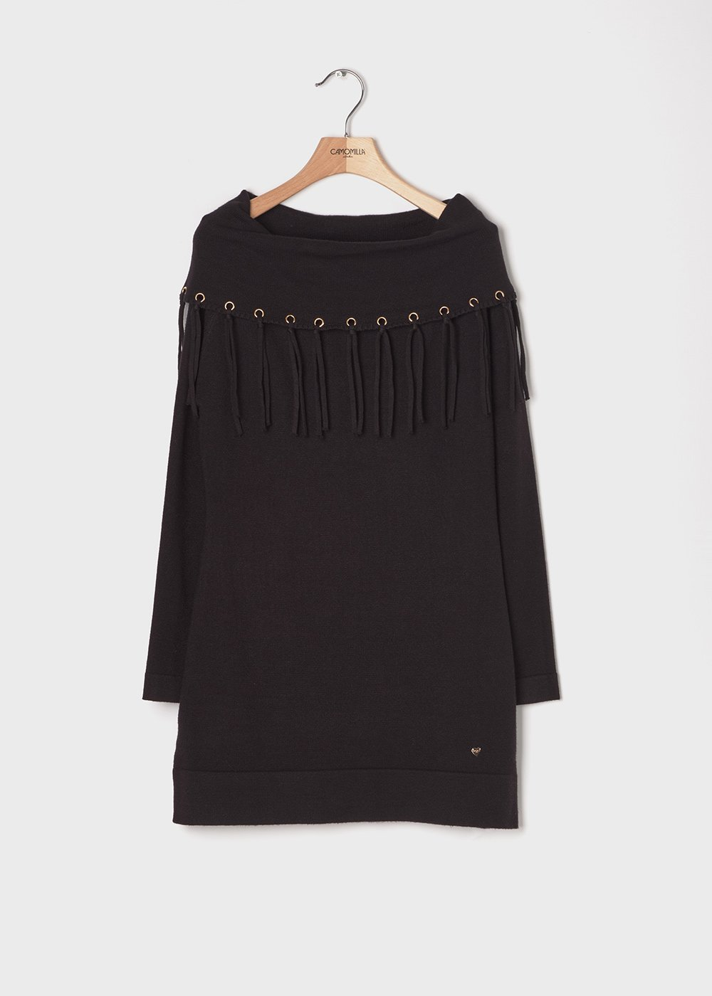Viscose sweater with fringes - Black - Woman