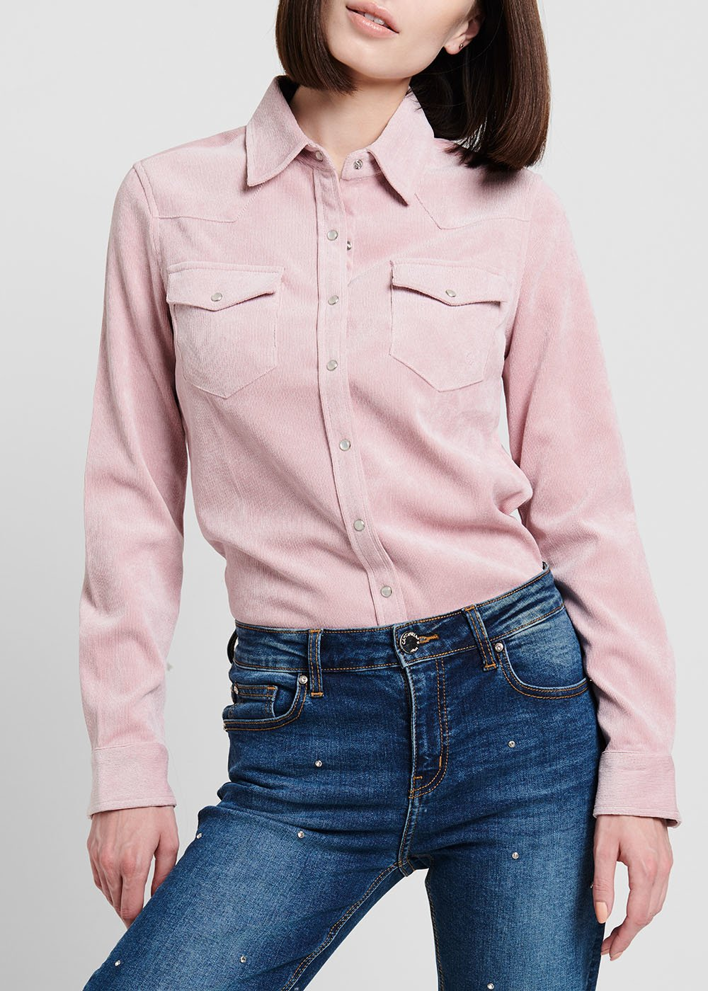 Solvent-coloured corduroy shirt