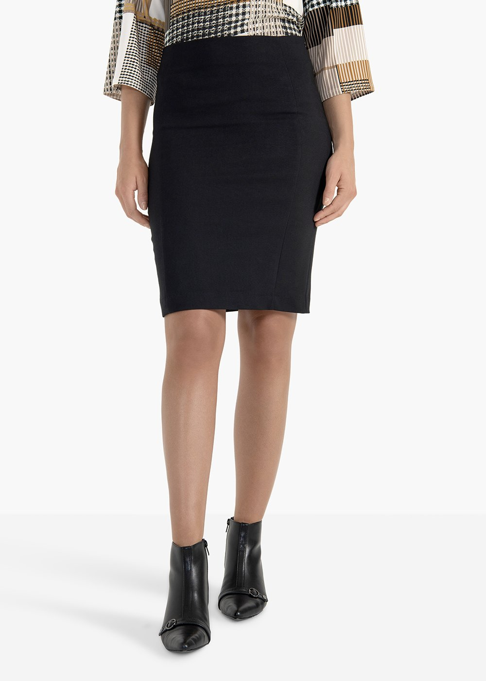 Pencil skirt Gaia in technical fabric with back tear - Black - Woman