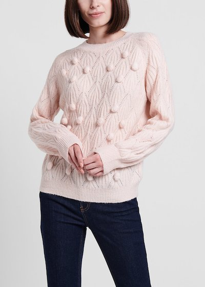 Sepia-coloured crew-neck sweater