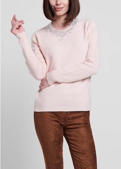 Sepia-coloured narrow-ribbed sweater with applique of crystals