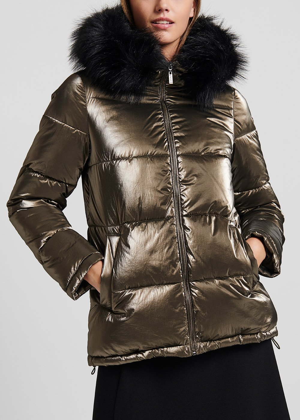 Down jacket in metal-effect fabric with hood - Grape - Woman