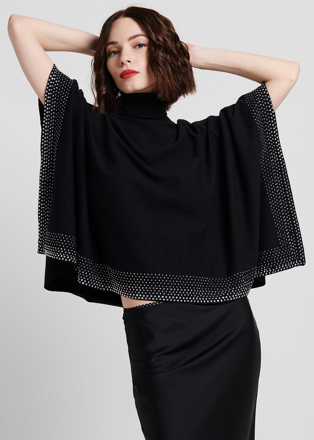 Mikela cape sweater in viscose fabric - Black - Woman