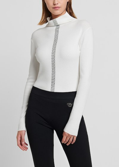 High-neck viscose sweater