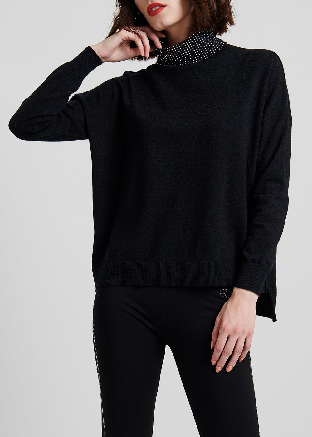 High-neck viscose sweater with rhinestones - Black - Woman
