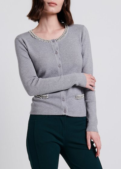 Cardigan in viscosa con perline e strass