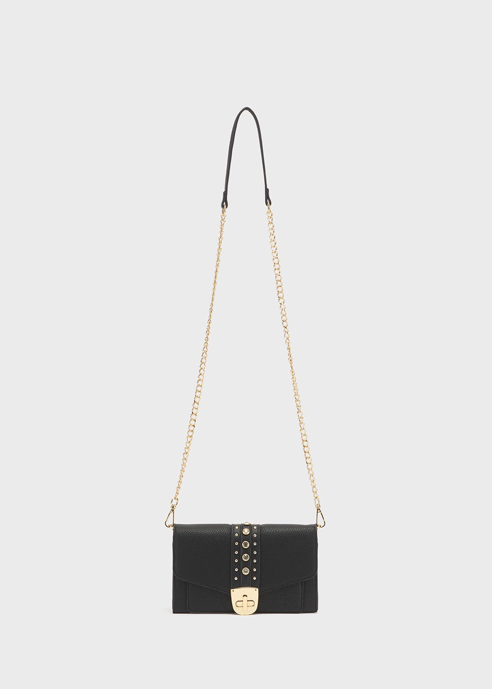 Peony wallet with studs detail and shoulder strap - Black - Woman