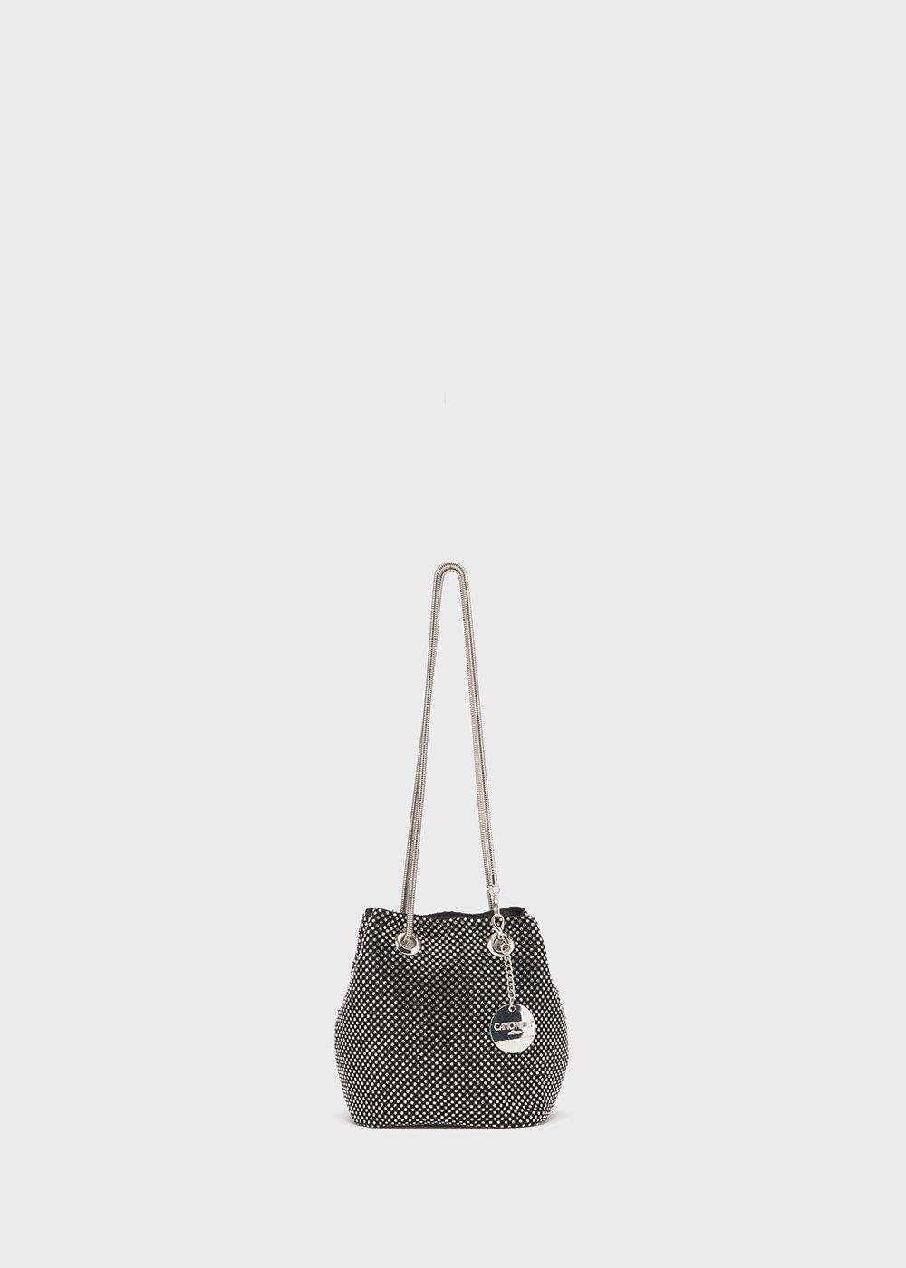 Brake micro rhinestones knit bucket bag - Black / Lurex - Woman
