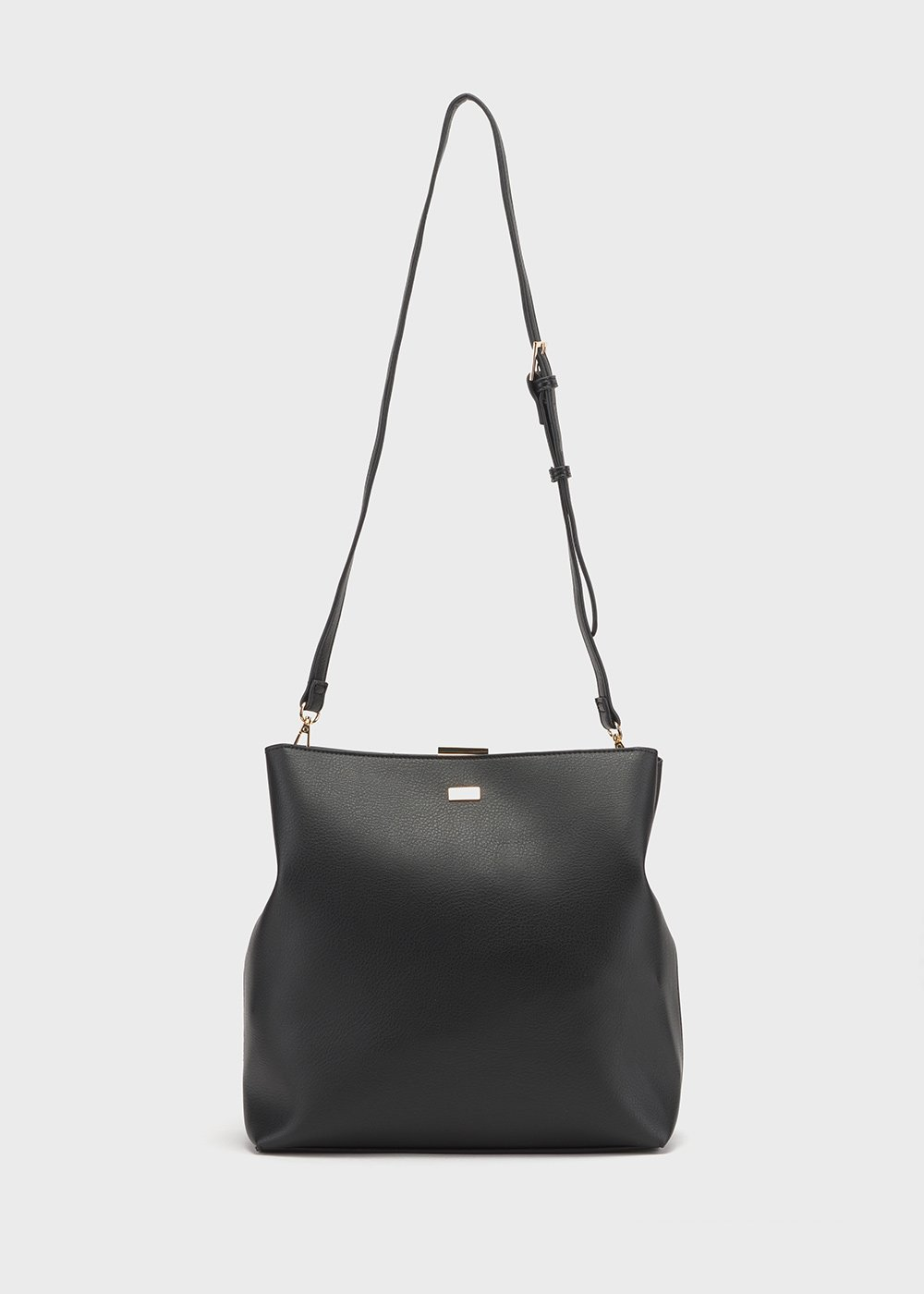 Bungee bag with clutch closure - Black - Woman