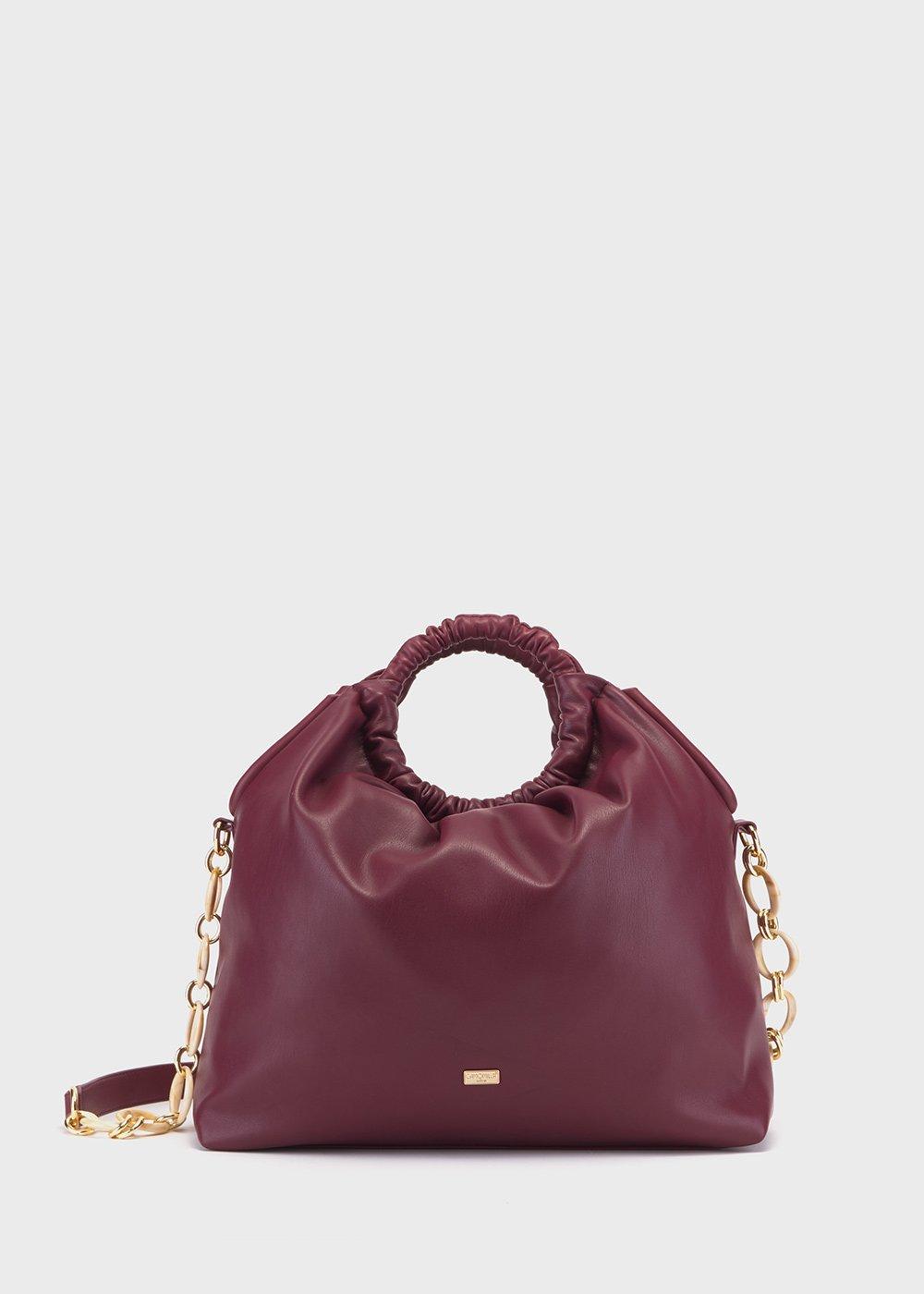 Benny hobo bag with embossed handle - Black cherry - Woman