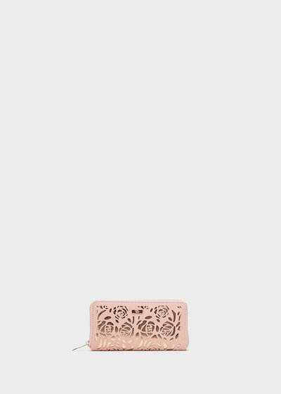Paser wallet with openwork roses pattern