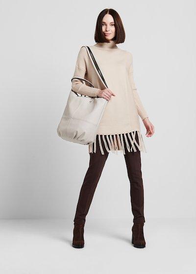Bamby shopping bag with light gold maxi zipper