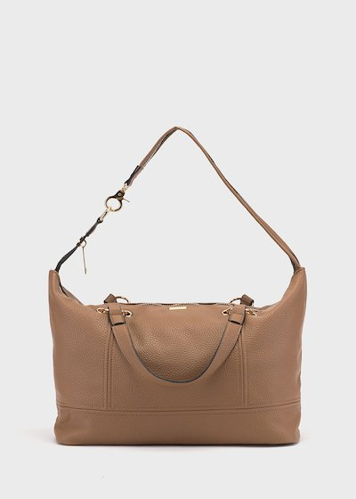 Shopping bag Betty con maxi zip in light gold
