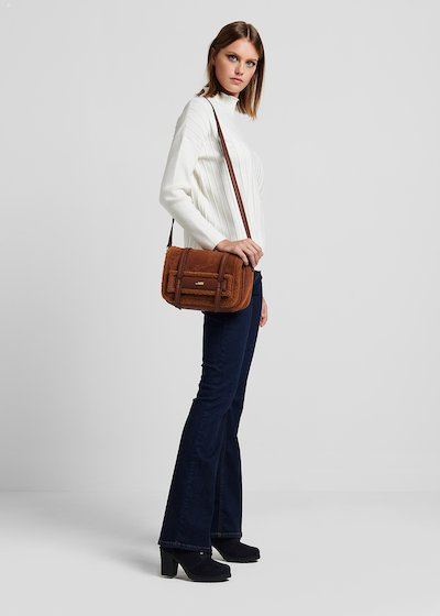 Faux-sheepskin Beamy bag with shoulder strap