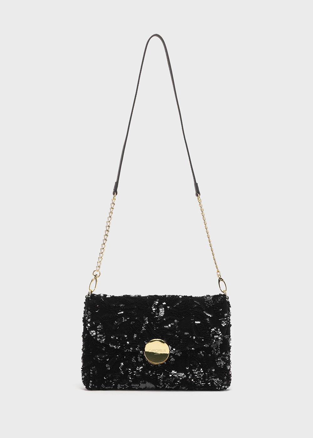 Badu sequin clutch bag with shoulder strap - Black - Woman