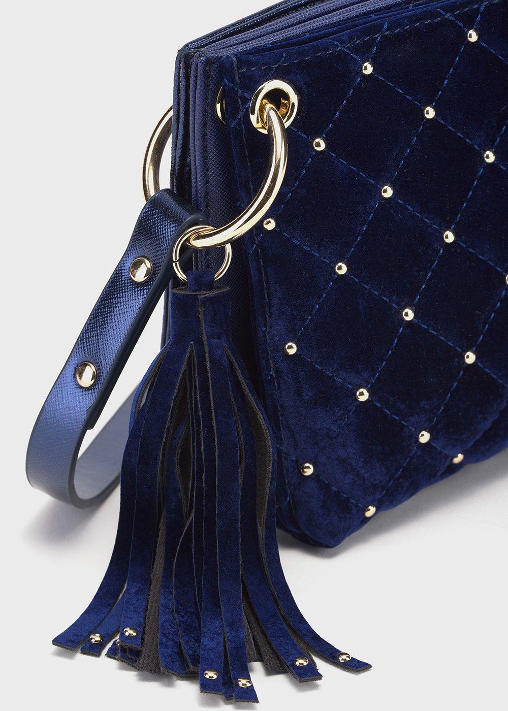 Balu quilted velvet clutch bag - Medium Blue - Woman