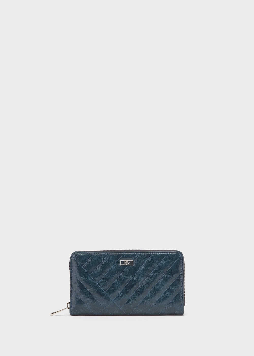 Peggy patent faux-leather wallet - Blue - Woman