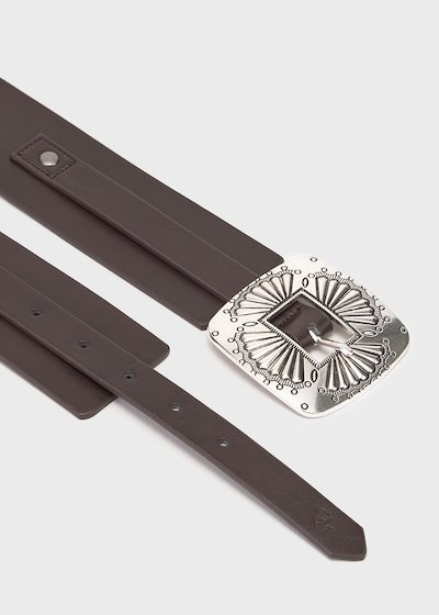 Choir belt in brow faux-leather fabric