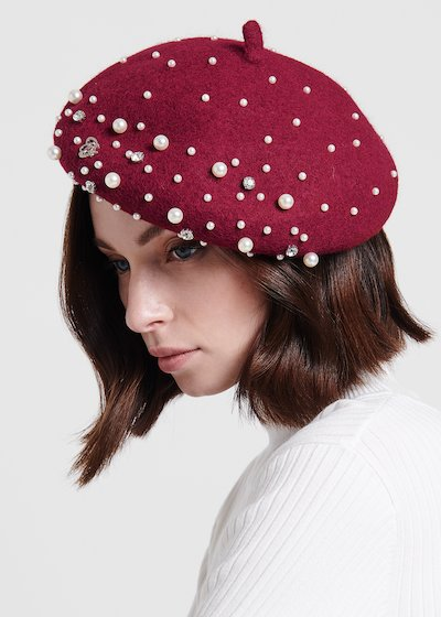 Cahory wool beret with pearls