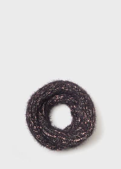 Solan neck warmer with fur effect and lurex threads