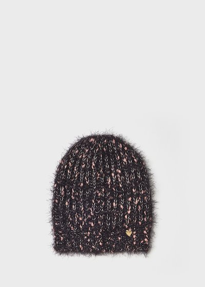 Colan hat with fur effect and lurex threads