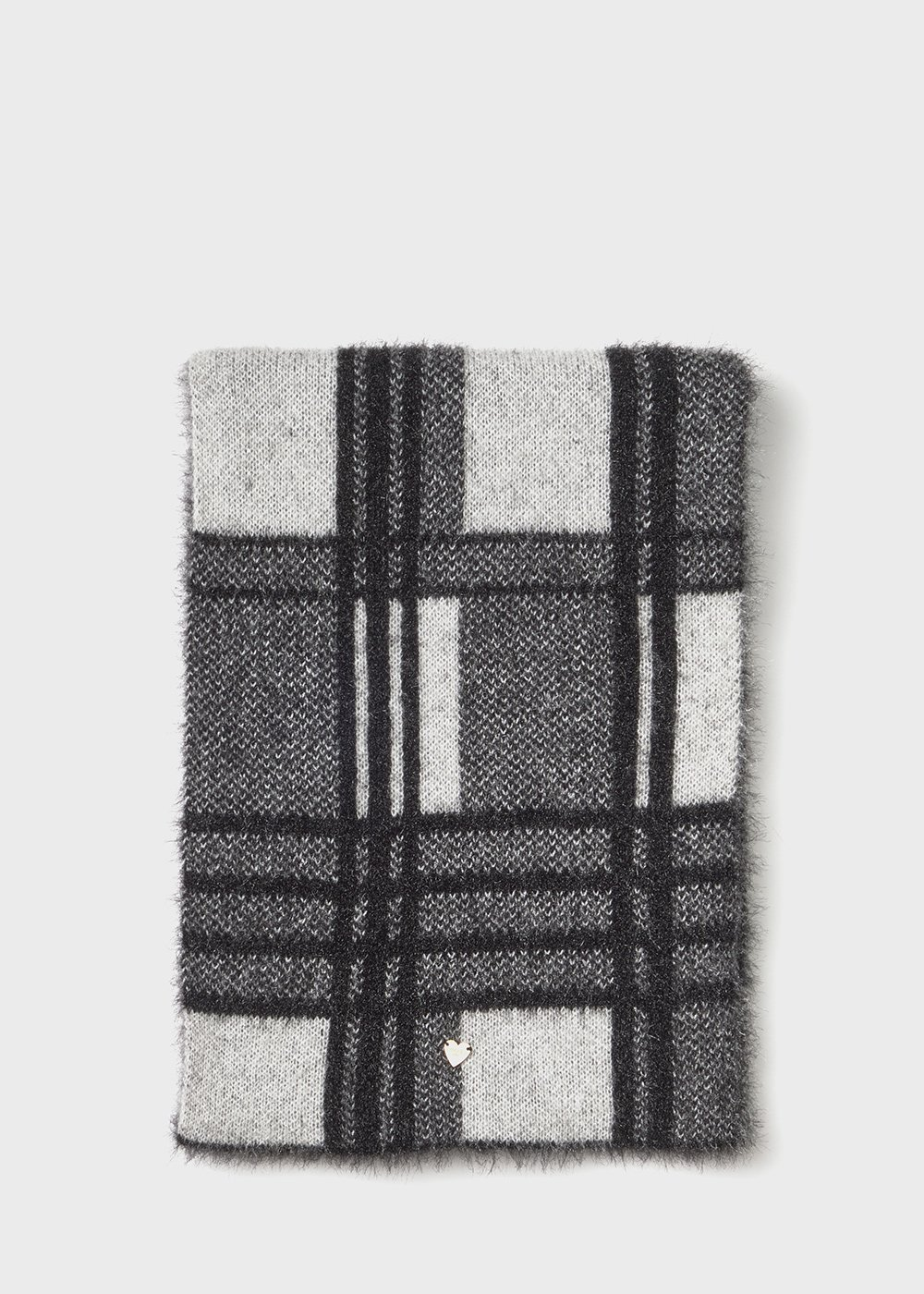 fur - effect Sadry scarf with check print - Black /  White - Woman