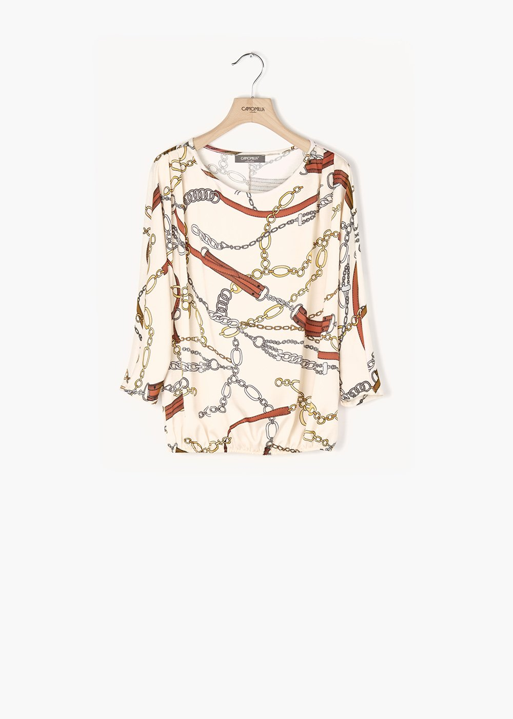 Chiara shirt with printed chains and buckles - Grezzo /  Sughero Fantasia - Woman