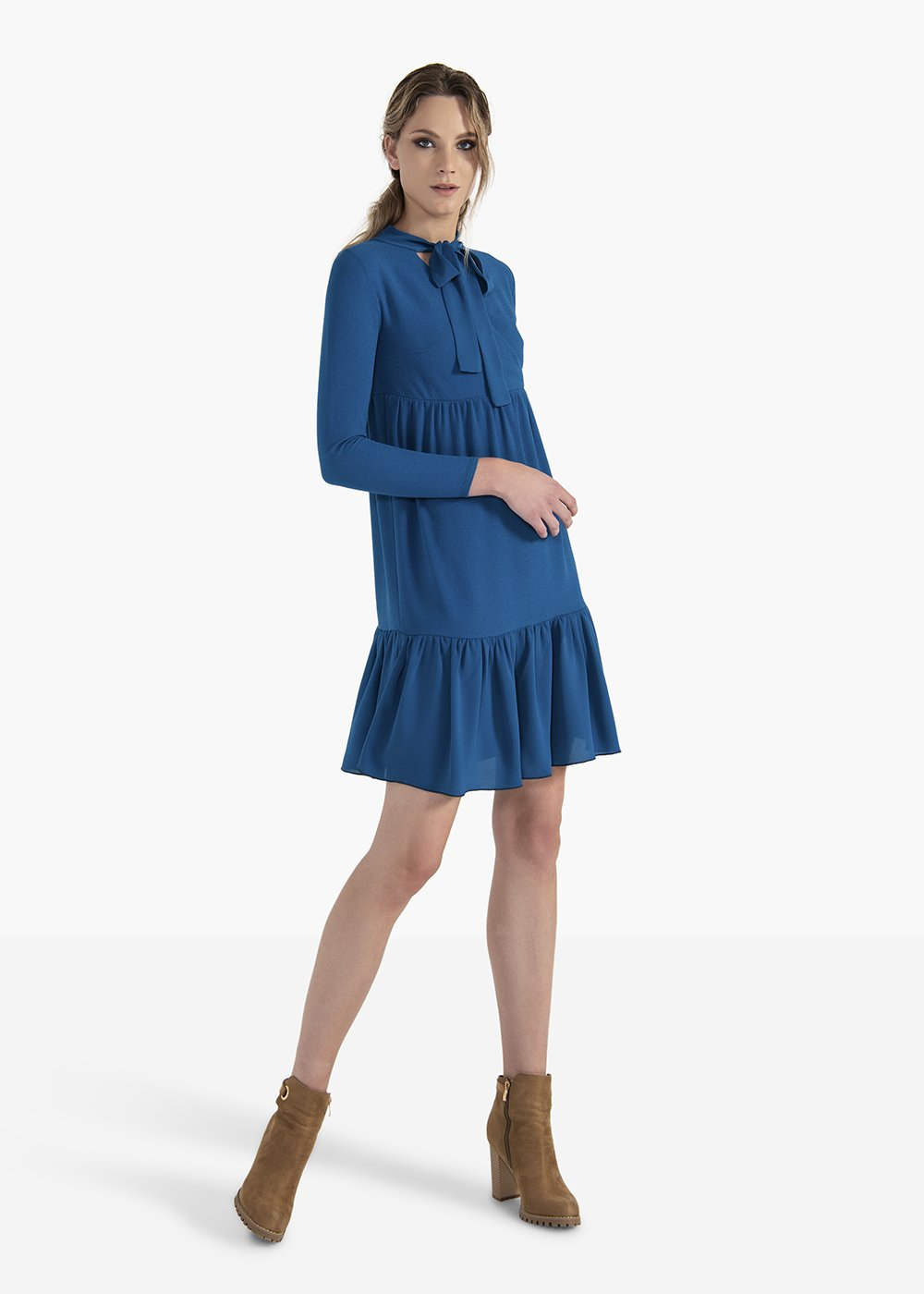 Dress Astrid in crepe jersey with flounces on the bottom - Blue - Woman