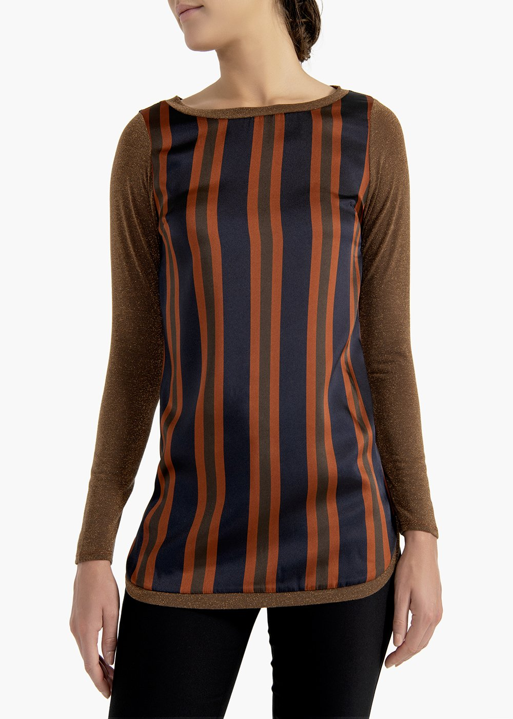 Sweater Madame with striped silk panel - Ruggine /   Blue Stripes - Woman