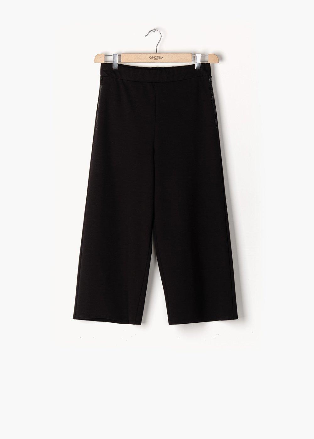 Pantaloni Passione in punto milano a gamba ampia - Black - Donna