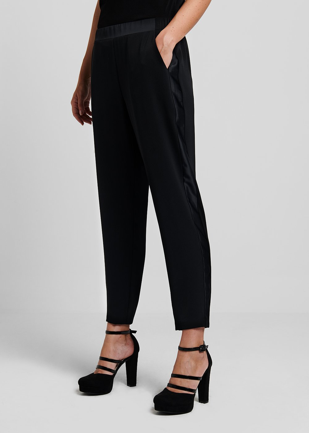 Palide trousers with side satin bands - Black - Woman
