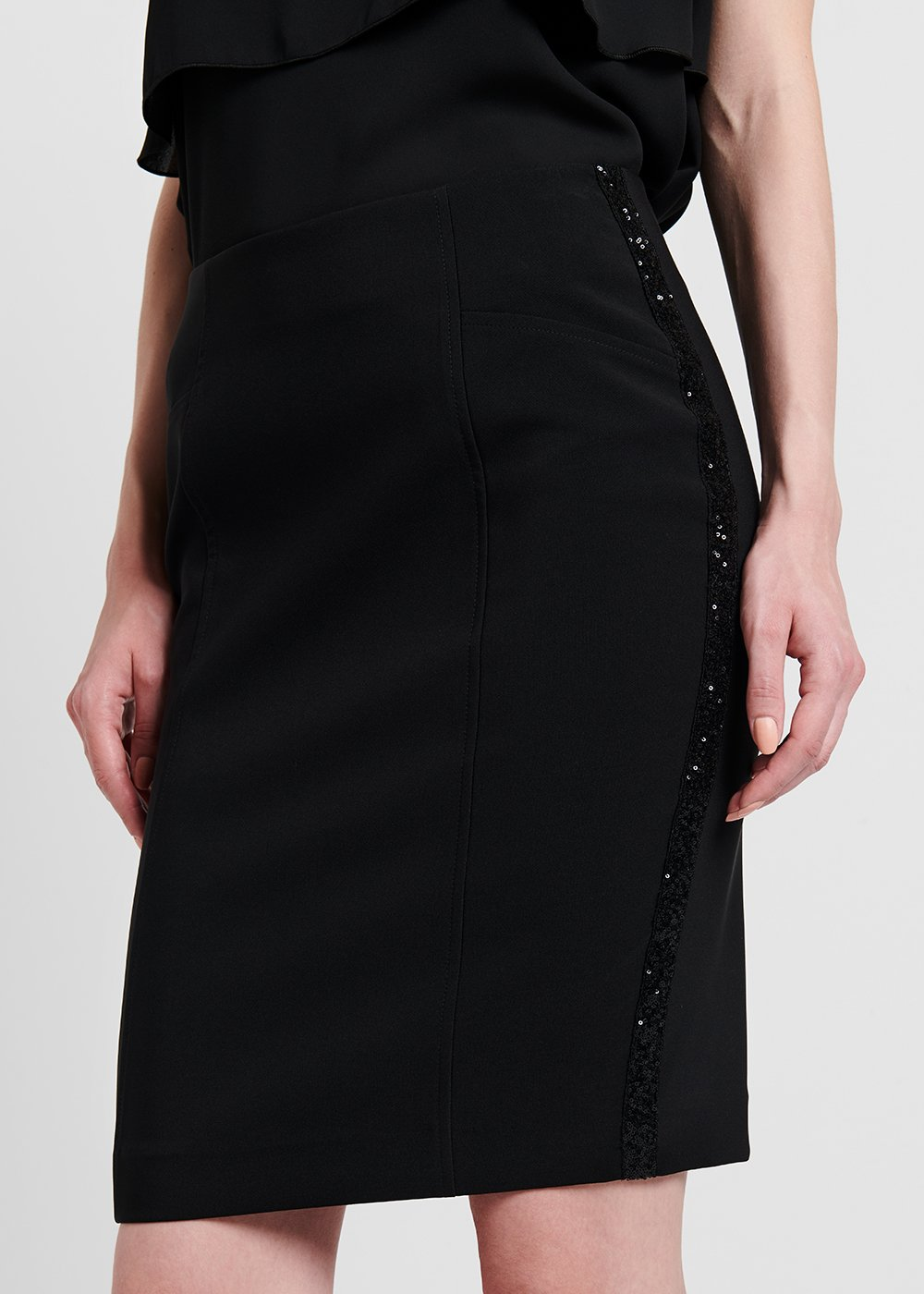 Pencil skirt with side sequined bands - Black - Woman