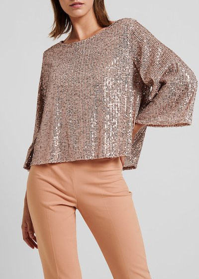Blusa light gold rose con paillettes
