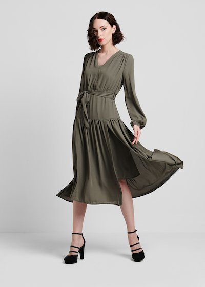 Georgette dress with full skirt