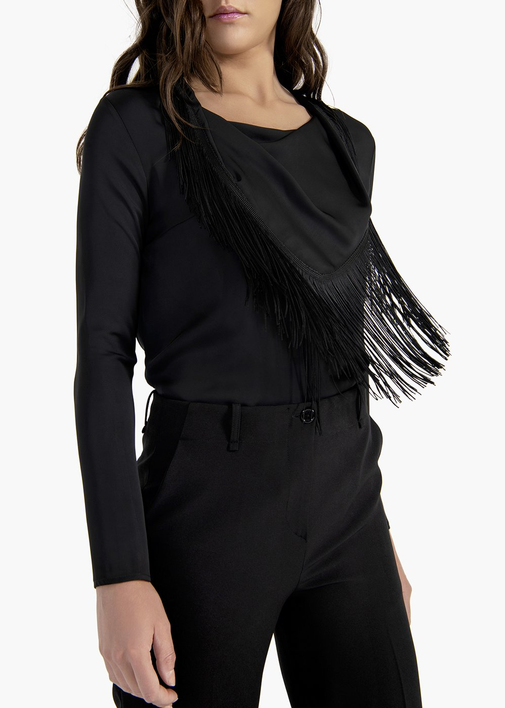 Sabry T-shirt in fluid fabric with V-neck and removable fringes