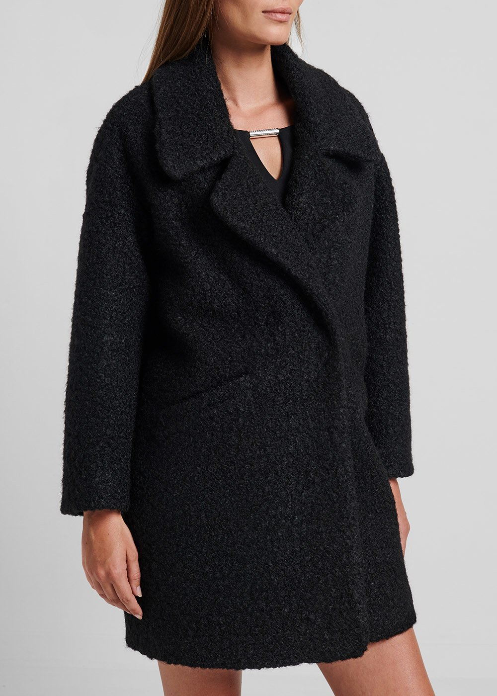 Double-breasted coat in faux - fur fabric - Black - Woman